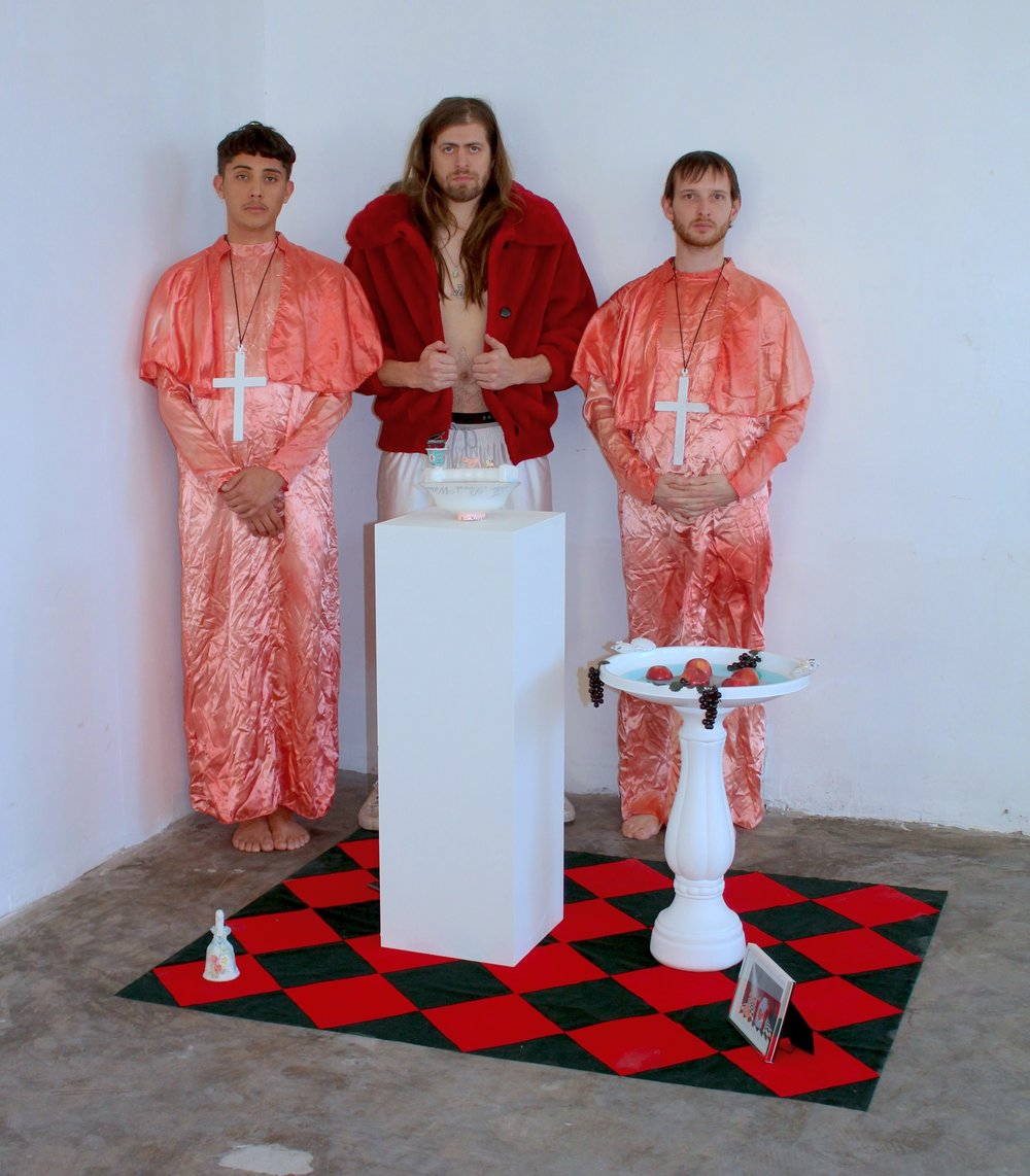 New Realism performers , H.O.T.M.F.G.  (House of the Many Faced God)  priests and pimp, 2017.