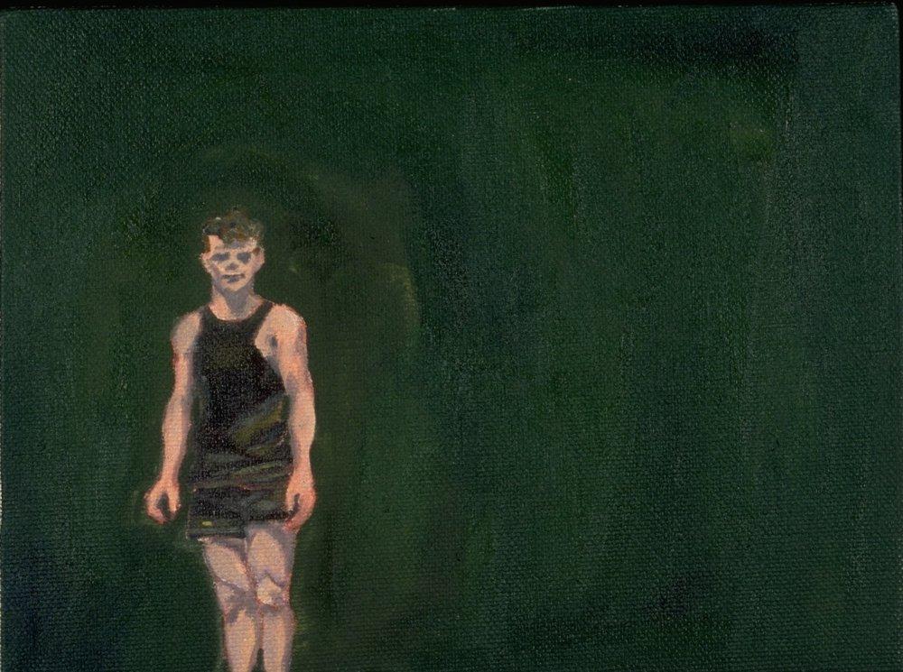 "The Swimmer, Oil, 6 x 8""."