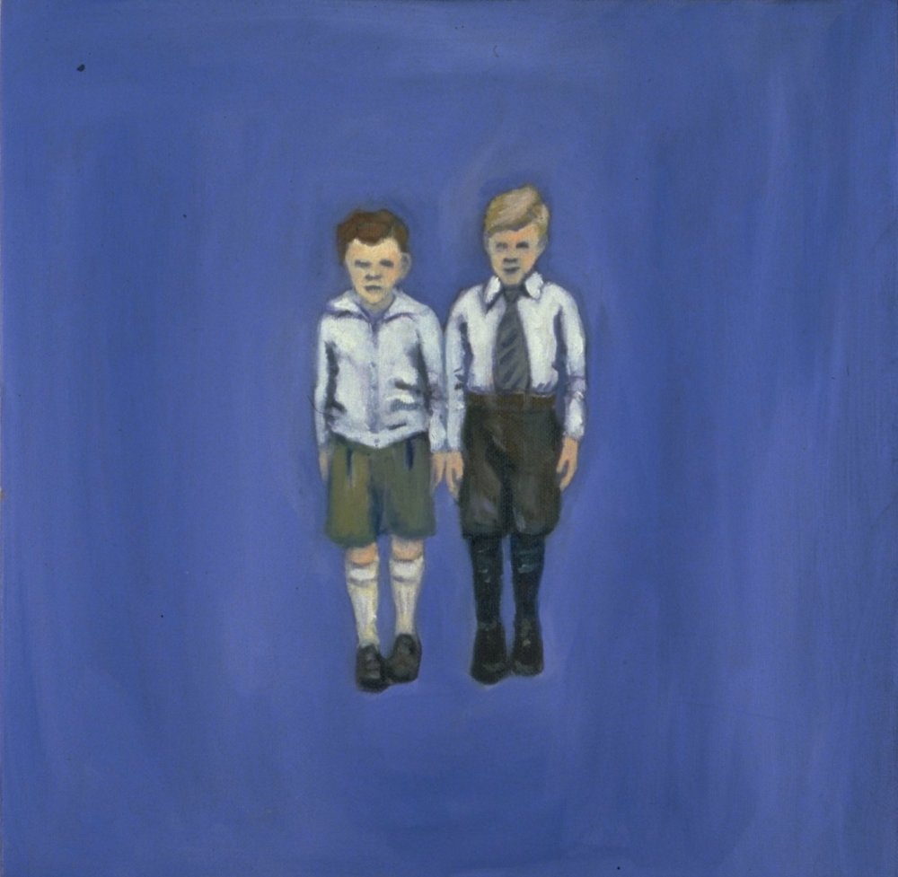 Two Boys, Oil, 20 x 20""