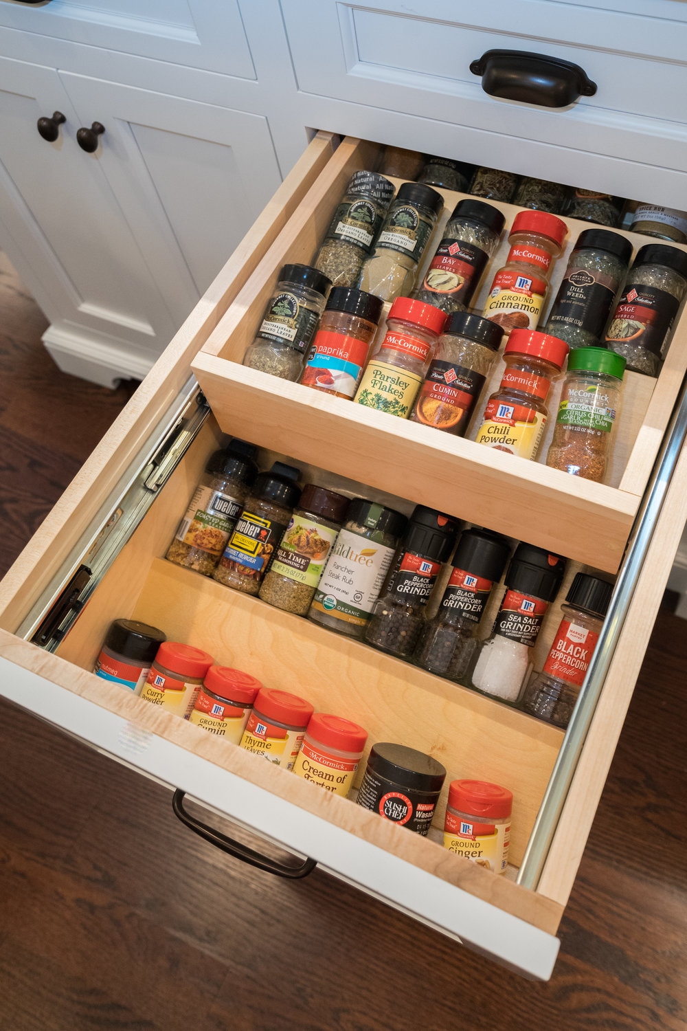 Double spice drawer so that you can see all of your spices!