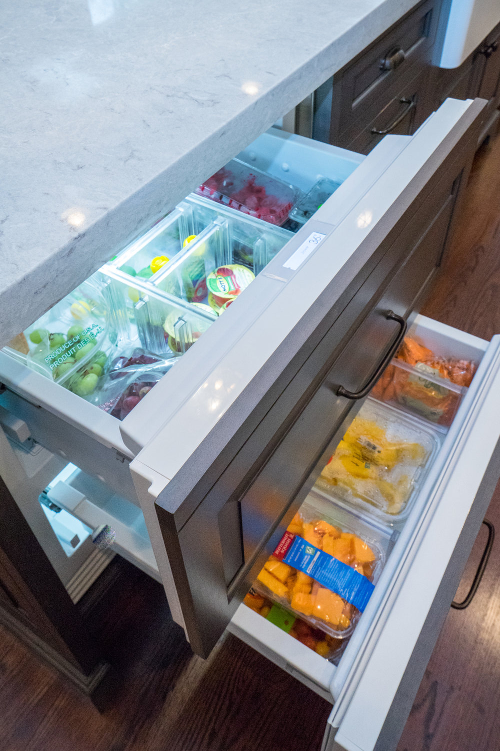 Paneled fridge drawers so that you can easily access your produce.