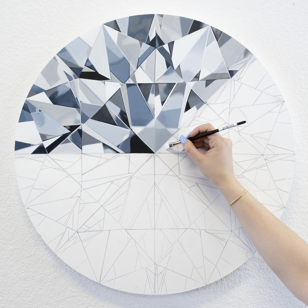 Each painting takes over 100 hours to complete. - After applying the base coat, I paint every facet one by one, in multiple layers. Each layer takes 1-2 weeks to dry.I share in-progress photos to help my clients understand the process of capturing a diamond's beauty, colors, and light refraction down to the smallest detail.