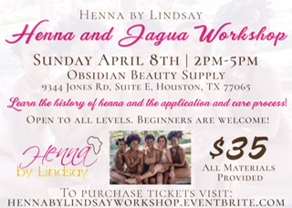Come learn how to create beautiful henna and jagua designs from an expert! For more information and tickets, visit hennabylindsayworkshop.eventbrite.com.