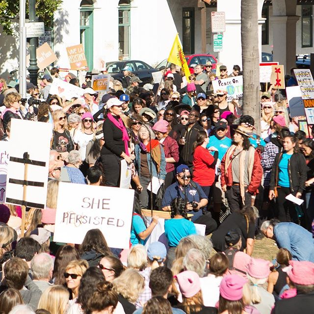 Judi Weisbart, founder of Birth of Reason, spoke at the Santa Barbara Women's March Rally calling for inclusion and unity #FounderFriday