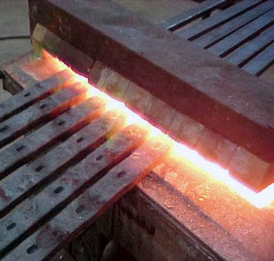 "Heating the 1"" x 2"" bars"