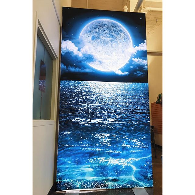 Image printed on fabric by our dyesub + giant lightbox = moonlight magic✨ 🌕🌖🌗🌑🌒🌓🌔✨