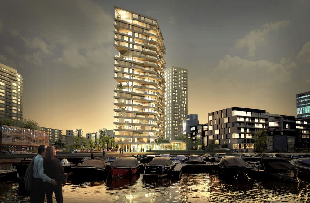 AMSTERDAM  / HAUT  Expected to make its debut on the Amsterdam skyline in late 2017, Haut should become the world's tallest wooden-framed building. It will stand at 21 stories and 239.5 feet (73 m).   Team V Architectuur   (Image courtesy of Team V Architectuur)