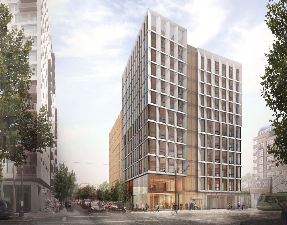 PORTLAND, OREGON  / Framework  Likely to be the tallest mass timber building in the U.S., Framework is a 12-story mixed use building featuring ground-level retail, five levels of office, five levels of housing, and rooftop amenity space. It is one of two projects that received funding as part of the 2015 U.S. Tall Wood Building Prize Competition.   LEVER Architecture (Image courtesy of Next Portland)