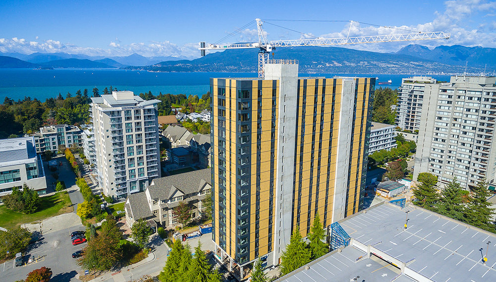 VANCOUVER, BRITISH COLUMBIA  /  Brock Commons  Construction is almost complete at the University of British Columbia for an 18-story Brock Commons Student Residence (previously called Tall Wood Building). At 173 feet (53 m) tall, with housing for 404 students, it will be the tallest mass wood hybrid building in the world.   Acton Ostry Architects (Image courtesy of the University of British Columbia)