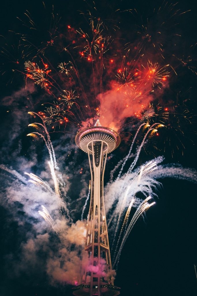 Space Needle Fireworks 683x1024