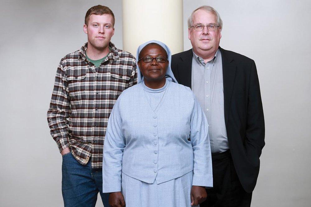Andrew McAferty, '16, Sister Elizabeth Namazzi and Jim Dooley, '76. Photo courtesy of Seattle University.