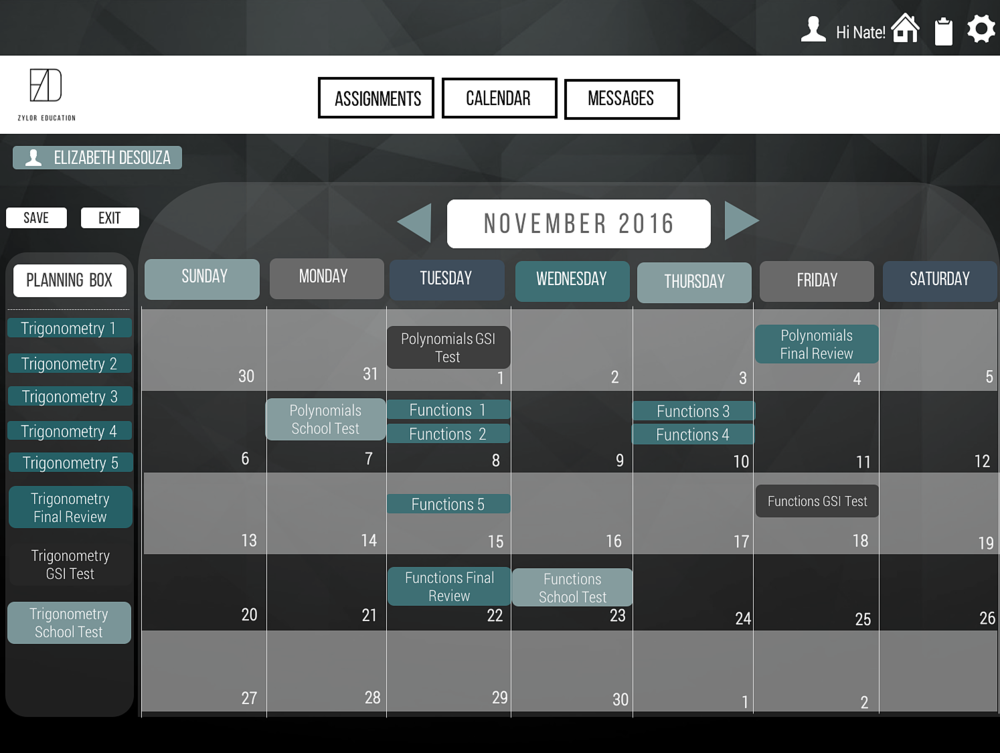 the calendar system will help students Organize their time and set deadlines. Tutors will assign their students video lectures with corresponding practice problems, which will appear in their the calendar, along with a due date.