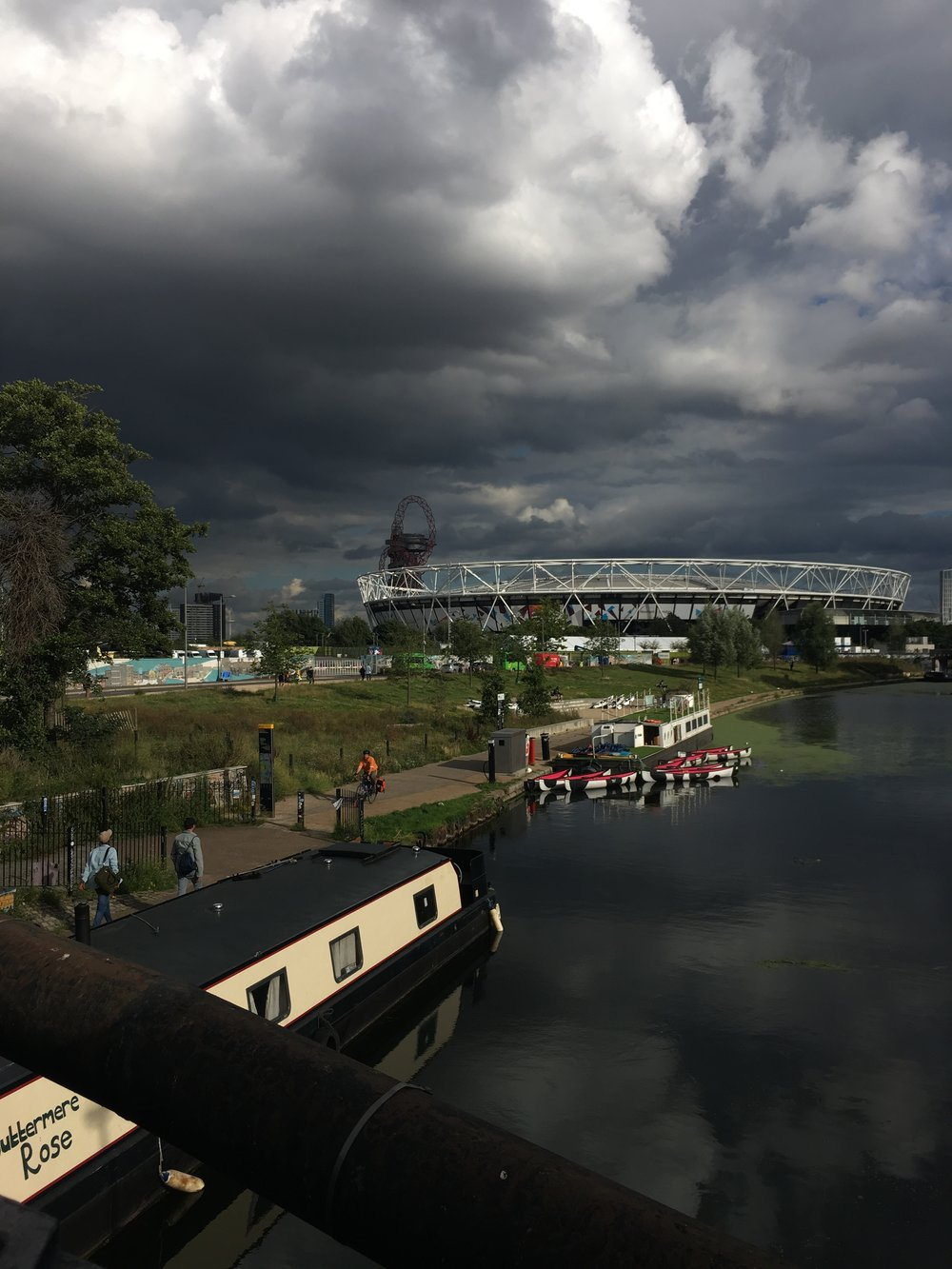 Moody sky over London Stadium but it didn't rain