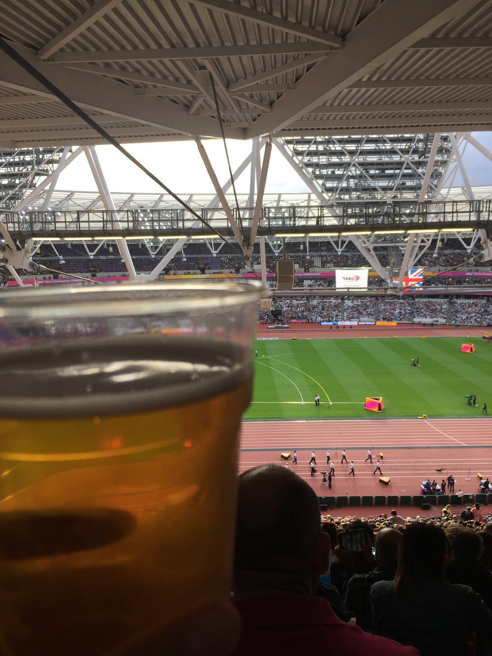 First things first: they let you drink beer in the stadium.  Because they're British, and smart.  Unlike SOME track venues (I'm looking at you, EUGENE.)
