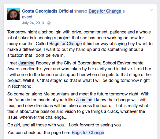 Costa Georgiadis' message of support leading up to the launch event in 2013.