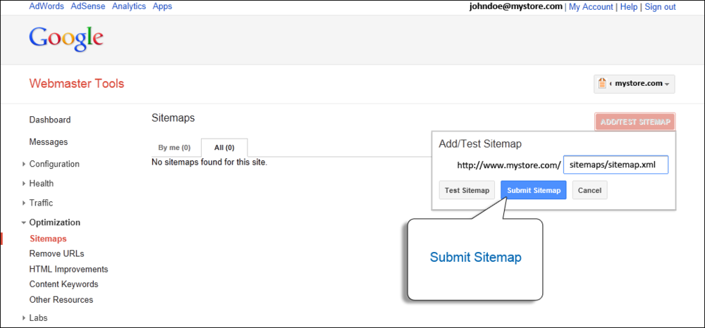 Go to Google's Webmaster Tools, under 'Site Dashboard', click Crawl, and then Sitemaps. Click, add a Sitemap, and add sitemap.xml to the end of the domain. Then, click submit.