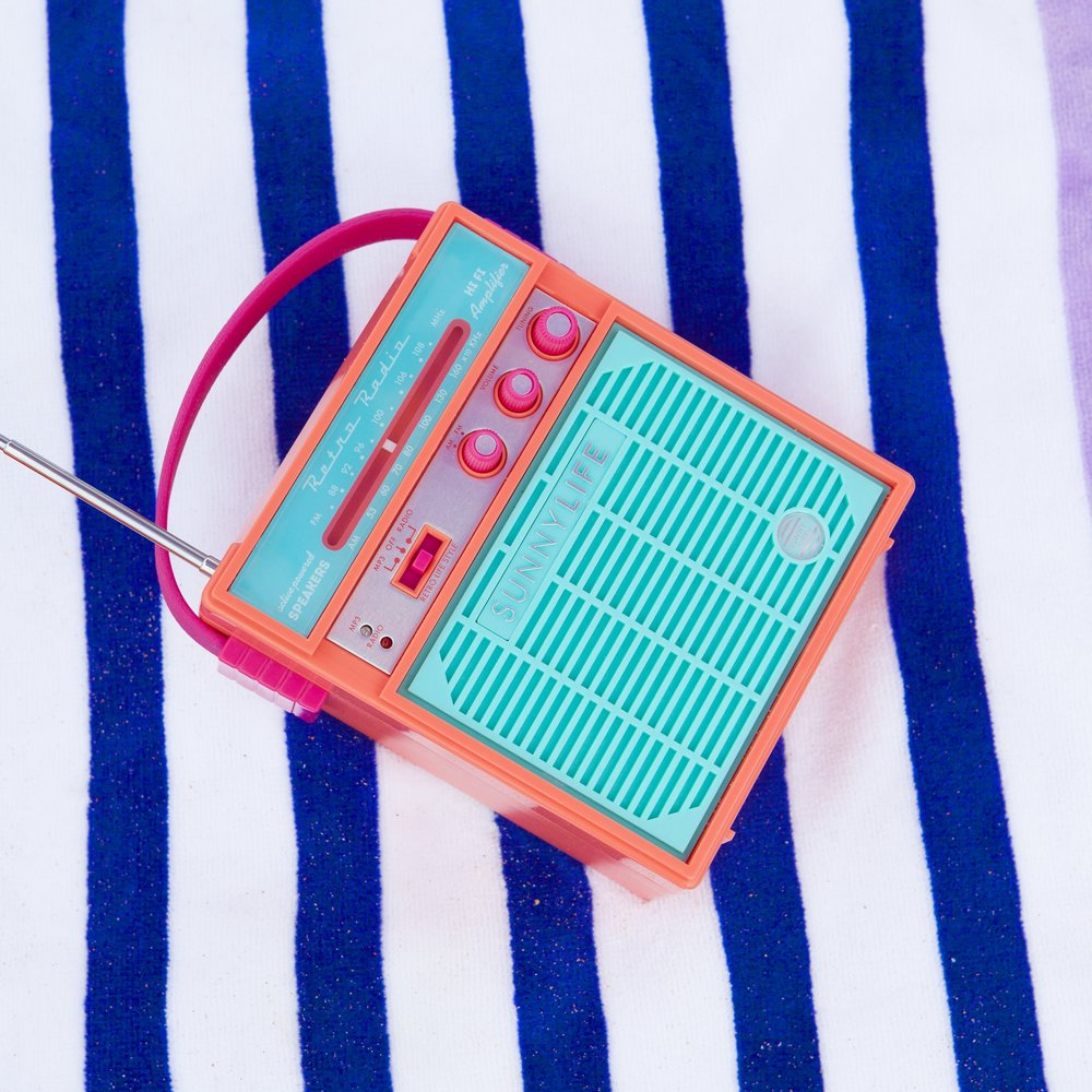 Water & Sand Resistant Retro Radios   Two important beach/pool day rules; 1.)   good music and 2.) a functional phone. These cute and colorful retro radios are water and sand resistant so you can listen to your summer playlist and still text plans later.
