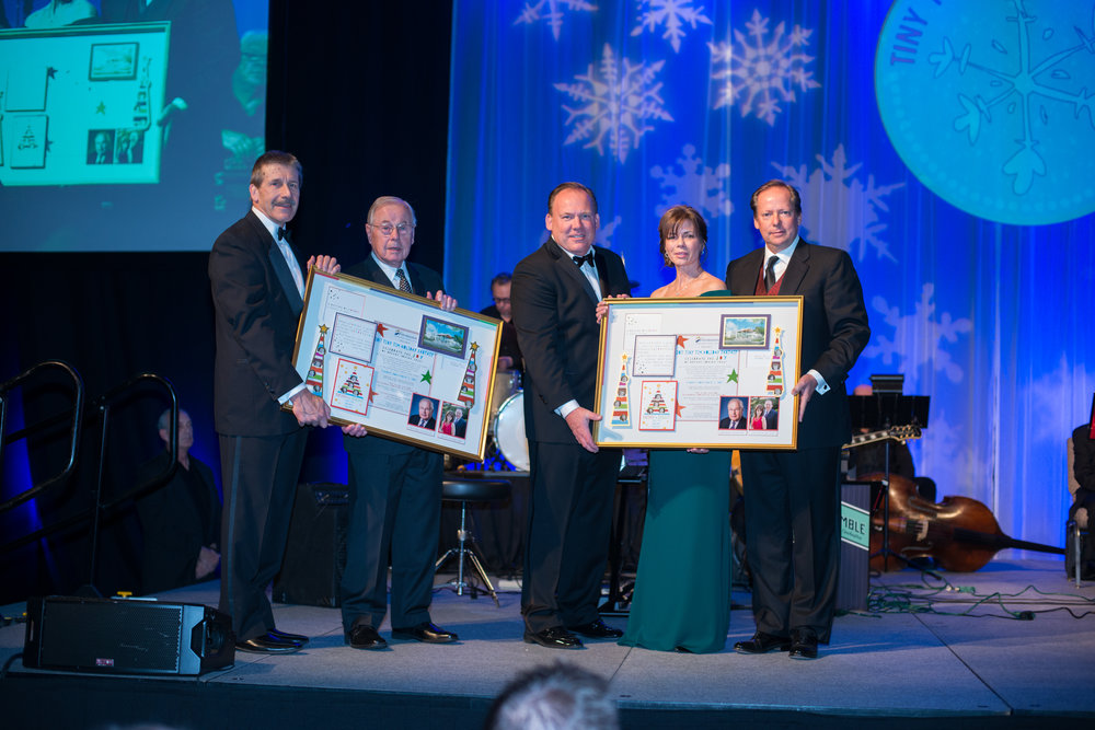 From left: Lou Gehring, Senior Executive Director, Foundation for SMMC; Mark Gilman, Tiny Tim Honorary Chair; Scott and Julie Kelly, Tiny Tim Co-chairs; Ken Bacon, President & CEO, SMH