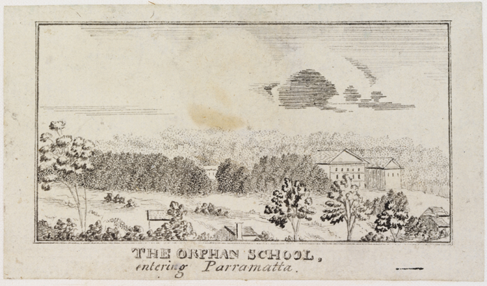 The Orphan School, entering Parramatta 1821-23 by Edward Mason (State Library of New South Wales a1080073 / PXC 459, 37)