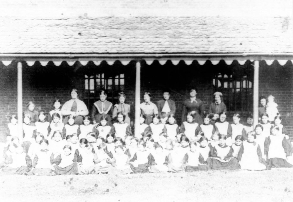 Staff and students of the Protestant Orphan School, 1870 (Society of Australian Genealogists)