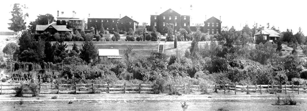Rydalmere Psychiatric Hospital, around 1900 from Camelia on southern side of river. (National Library of Australia)