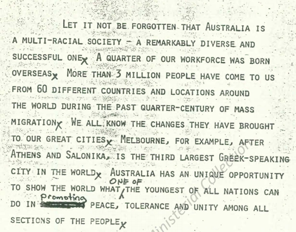 Excerpt from speech delivered by Prime Minister, The Hon. Gough Whitlam QC at a Ceremony proclaiming the Racial Discrimination Act 1975 on 31 October 1975 in Canberra.