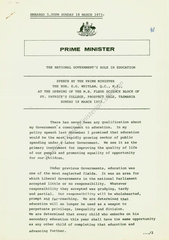 "Speech ""National Government's Role in Education"" delivered at the Opening of the MB Flood Science Block, St Patick's College, Tasmania on Sunday 18 March 1973"