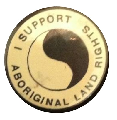 Land rights protest badge