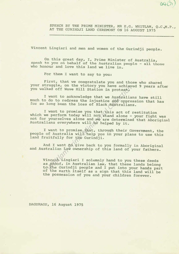 Gough Whitlam's Speech, returning traditional lands in the Northern Territory to the Gurindji people
