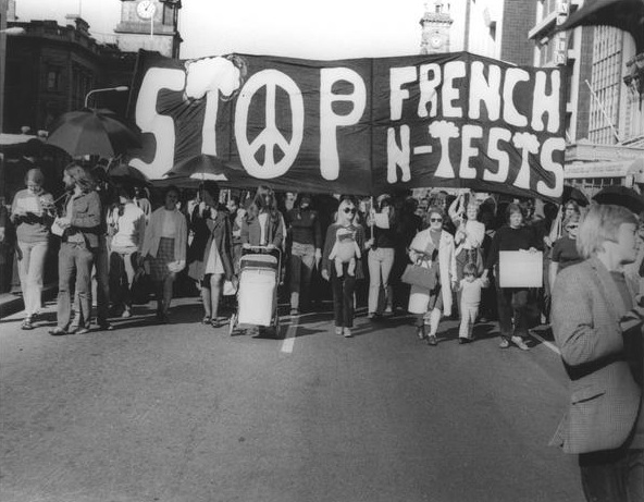 A demonstration against French nuclear testing in the Pacific. Adelaide, 1972
