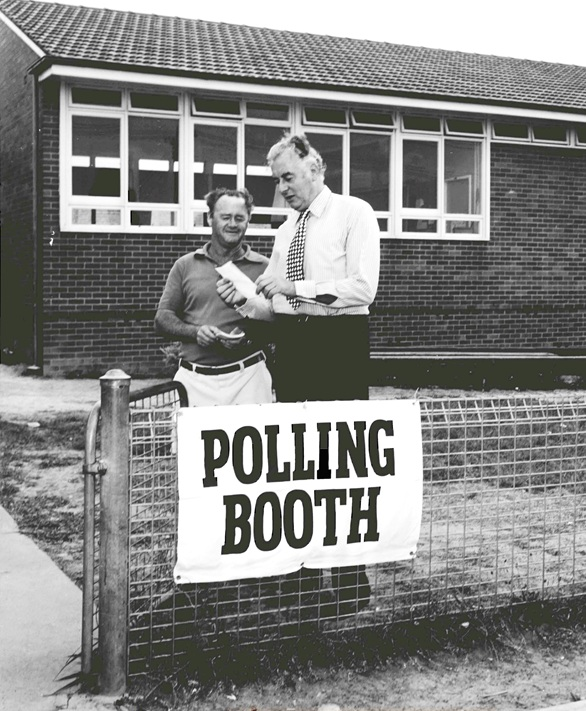 Gough Whitlam at a polling place