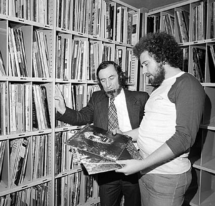 Minister for Media, Moss Cass at Double J studios in Sydney in 1975