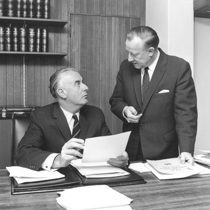 Gough Whitlam and Lance Barnard (here shown in 1969) made up the 1st Whitlam Ministry or 'duumvirate'