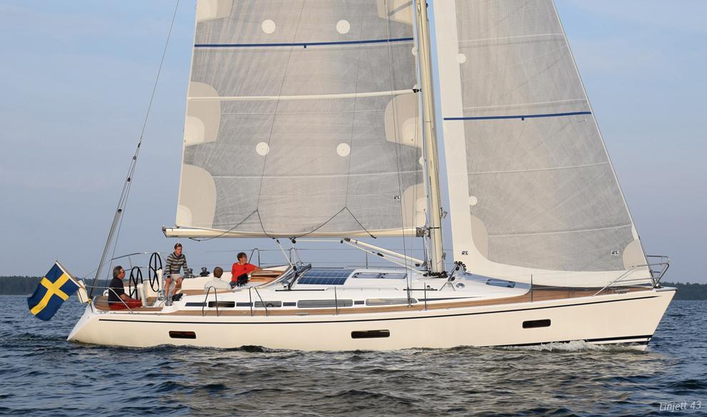 X-Drive Silver full-batten mainsail and roller/furling genoa on a Linjett 43.