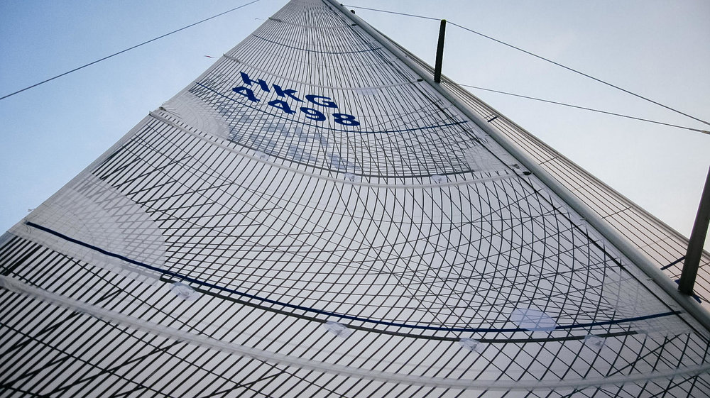 A full batten Tape-Drive Carbon Polyester main on a Beneteau First 44.7.