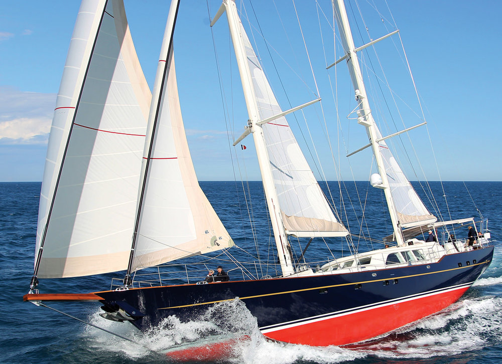 KESTREL, a 106 foot cruising ketch designed by Ron Holland.
