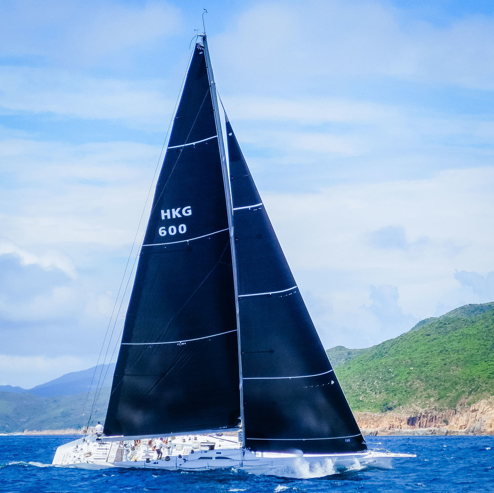 The Reichel-Pugh 77 JELIK storming upwind with her Uni-Titanium inventory.