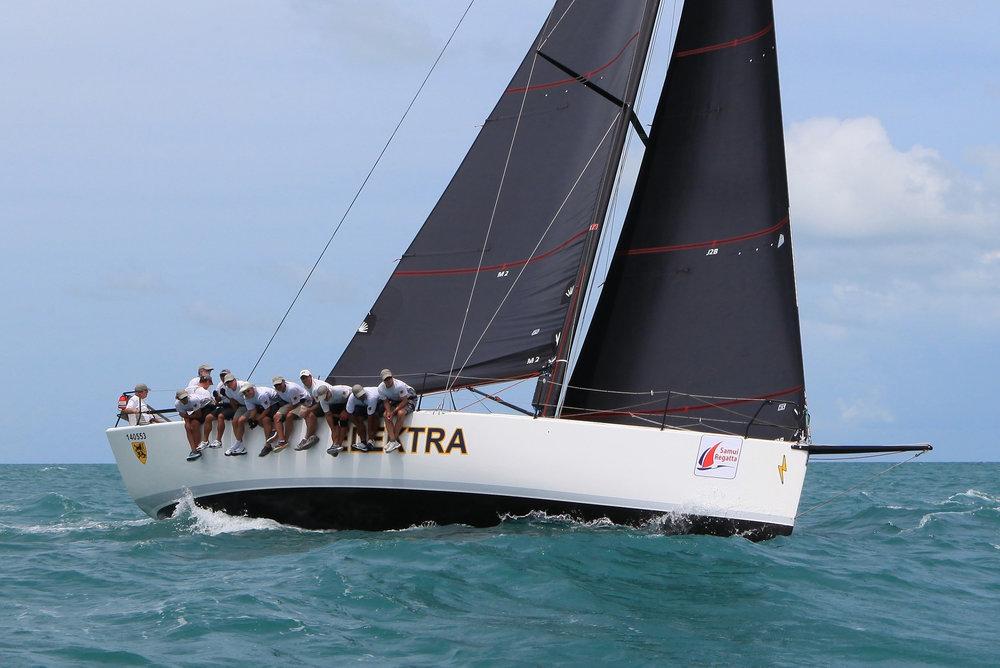 The Sydney 43 ELEKTRA sailing upwind with Black Titanium main and jib.