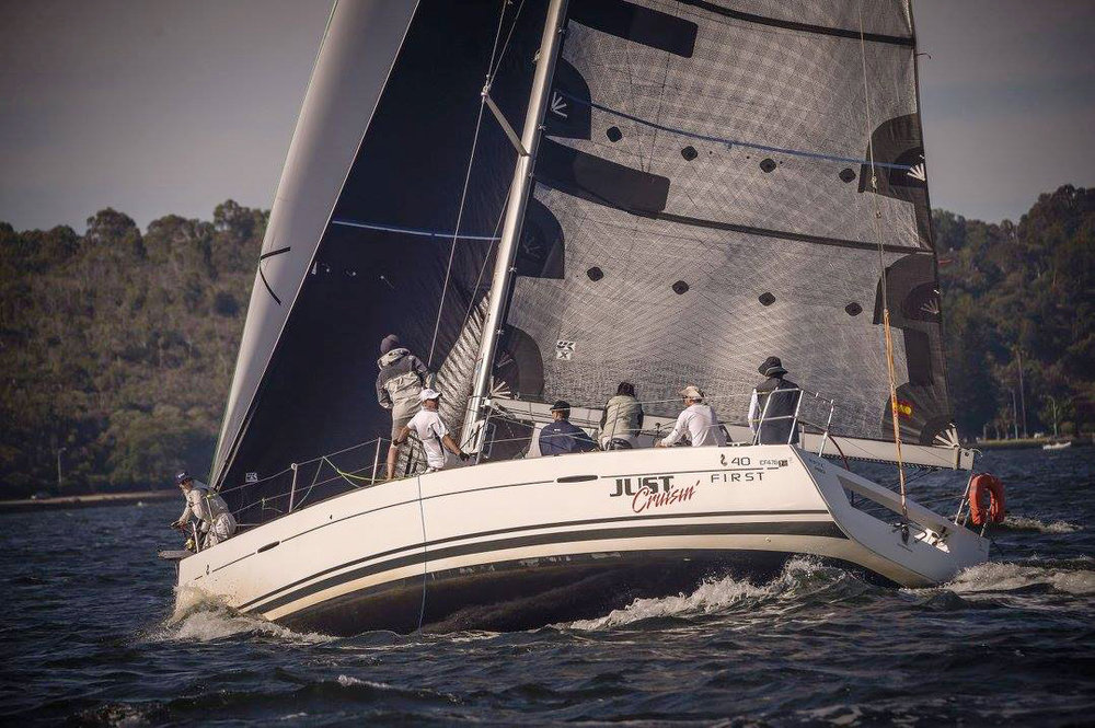 The Beneteau First 40 JUST CRUISIN' with a Titanium clear main and Black Titanium No. 3 genoa.