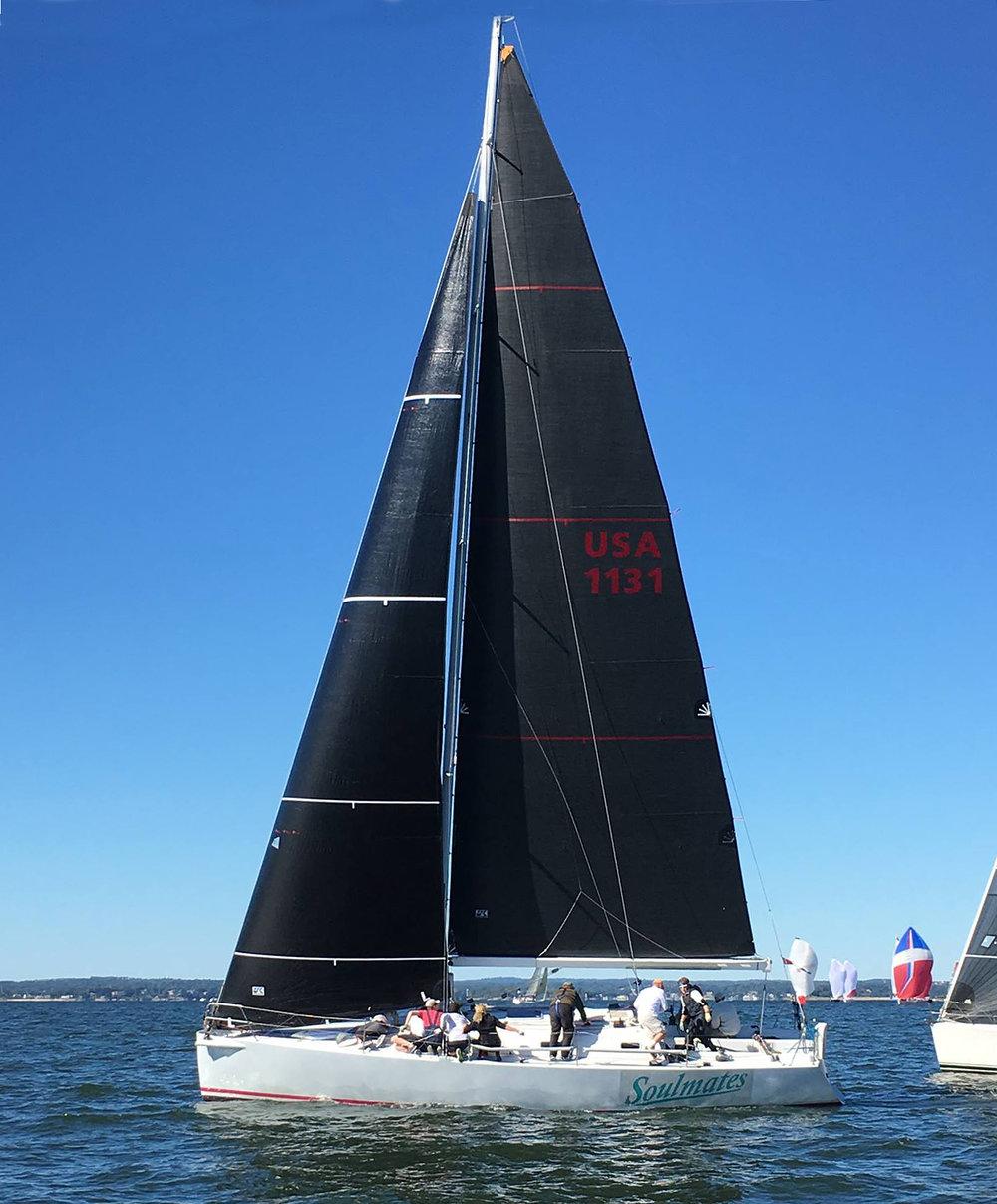 SOULMATES, a custom Roger Martin 40, with a Titanium Black non-overlapping jib and Uni-Titanium LiteSkin mainsail.
