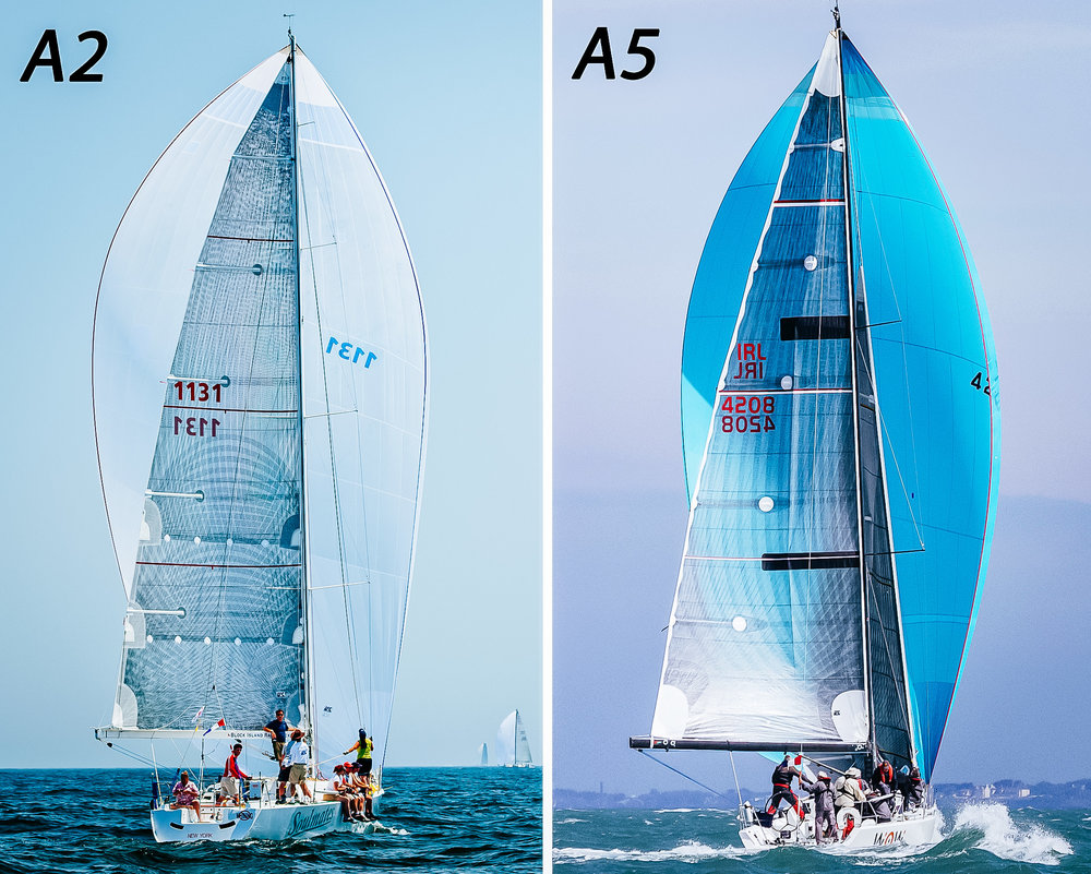 This comparison vividly shows the difference in size and shape between an A2 (full-sized spinnaker) and an A5 (small heavy air asymmetric). The A2 is wider and had full shoulders, while the A5 is much narrower with almost no shoulders.
