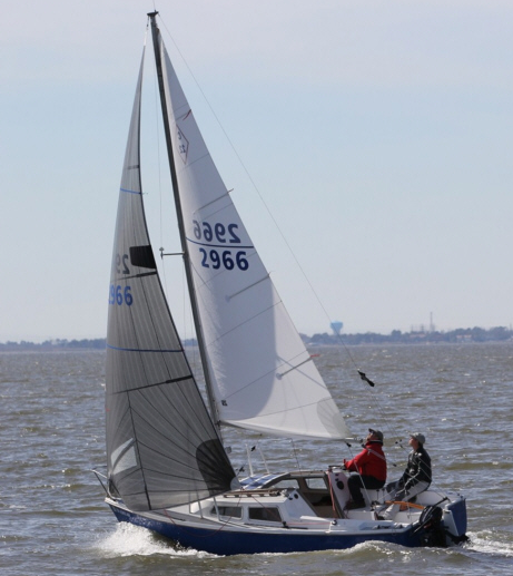 Ben Miller sailing at the 2013 Catalina 22 Nationals, which he finished 3rd at in the Gold and Spinnaker divisions.