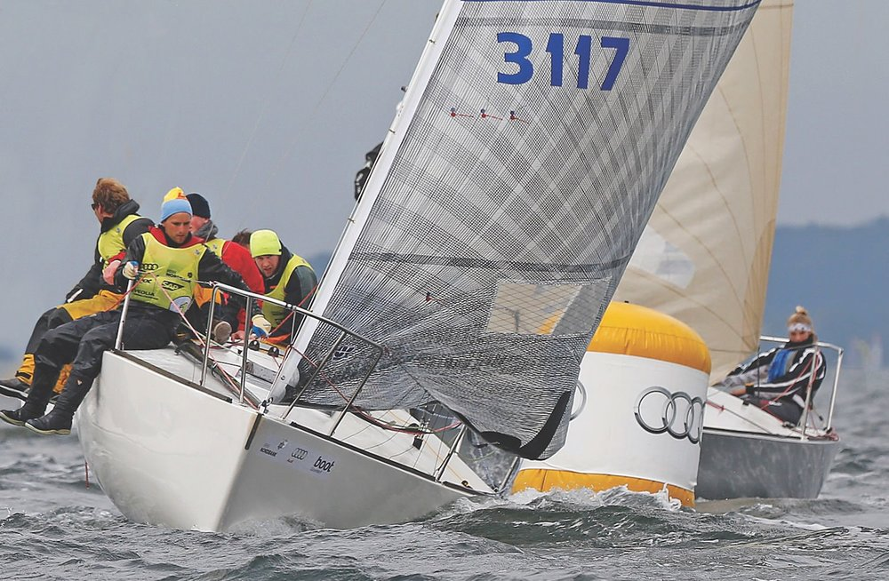 Peer Kock's J/24, above, won the 43 boat fleet Kiel Week 2013.