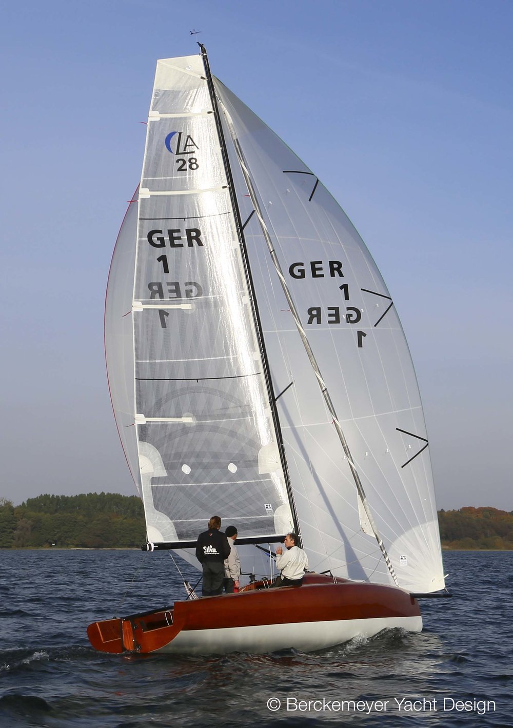 A Square-Top X-Drive mainsail on a 28-foot daysailer designed by   Berkemeyer Yacht Design  .