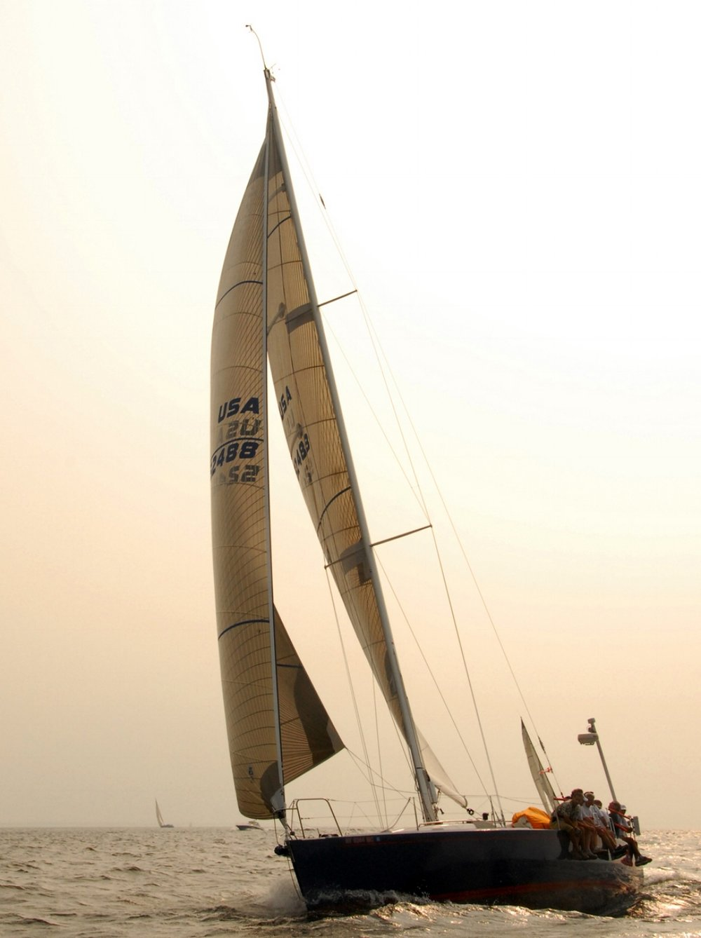 A 43-foot J/133 sailing with a Jib Top on a reach too close for a spinnaker or Code Zero.