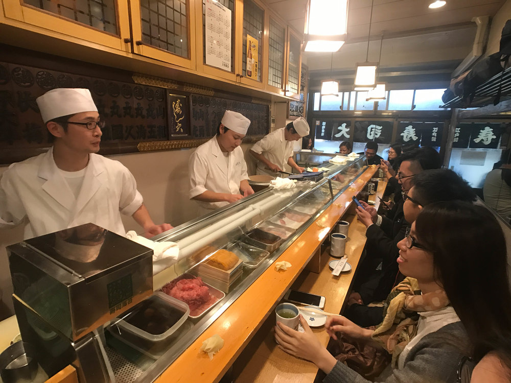 Inside Sushi Dai.