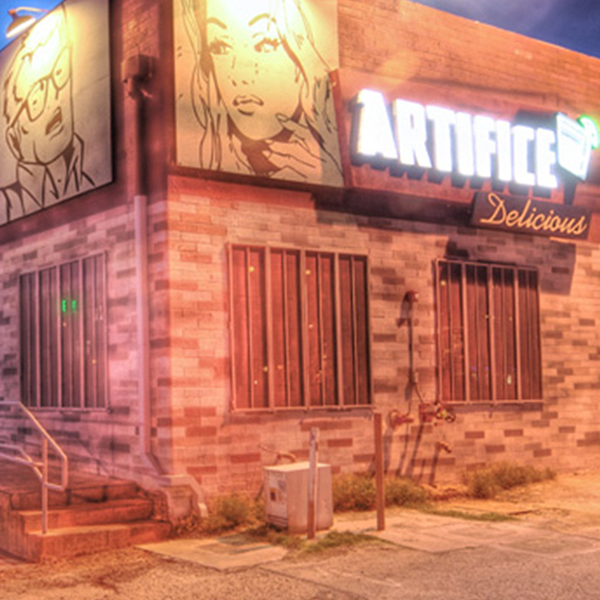 Artifice Bar - Bar & LoungeArtifice is a casual neighborhood lounge with delicious drinks, boutique wines, an eclectic music program and three different rooms to lounge in featuring paintings and photography by artists in the city and around the world.Hours + InfoSuite #100Open 7 days a week – 5pm to 2am (8pm on Sundays)+17024896339mandy@artificebarlv.comhttp://www.artificebarlv.com/
