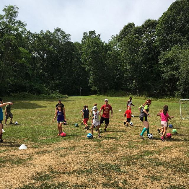 @wecankickit Coach Adrian is teaching our campers soccer skills ALL week! We are still on the look out for dinosaurs here 👀