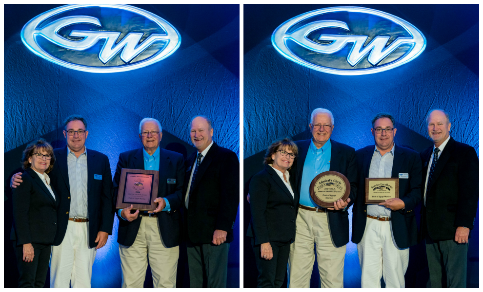 CEO Bill Lieblein and Sales Manager Michael Kelley accepted Port of Egypt Marine's awards from Grady-White Boats President Kris Carroll (far left) and Vice President of Sales Joey Weller (far right).