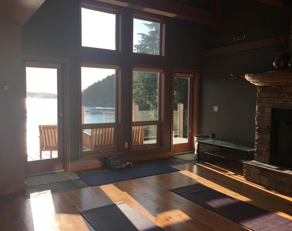 The luxury lodge - yoga room - on the water's edge. PC: The Homestead Tofino